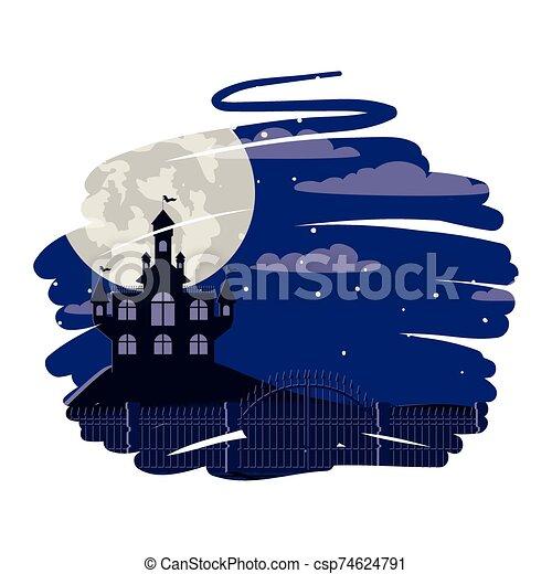 halloween dark castle with moon scene - csp74624791