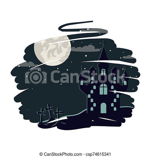 halloween dark castle with moon scene - csp74615341