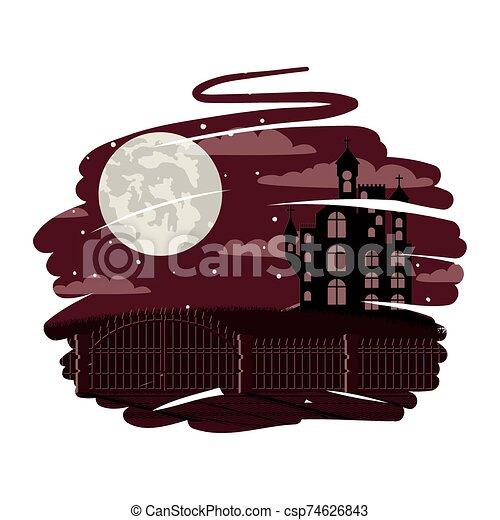 halloween dark castle with moon scene - csp74626843