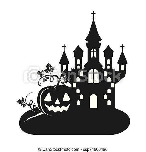 halloween dark castle with pumpkin scene icon - csp74600498