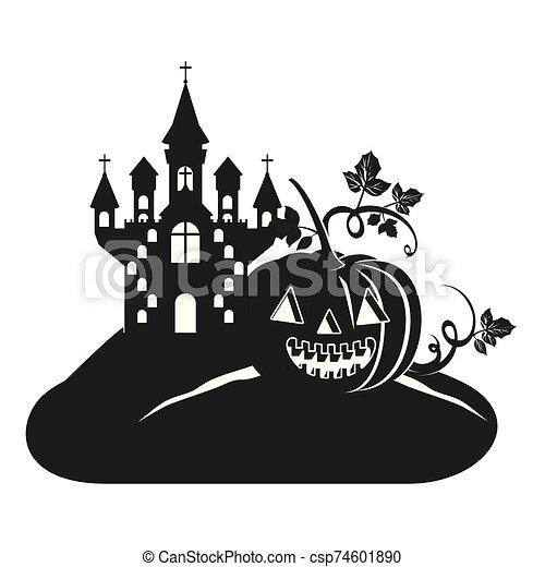 halloween dark castle with pumpkin scene icon - csp74601890
