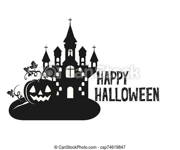 halloween dark castle with pumpkin scene icon - csp74619847