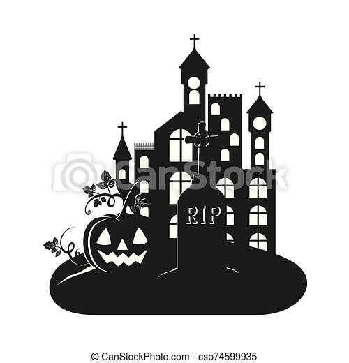 halloween dark castle with pumpkin scene icon - csp74599935
