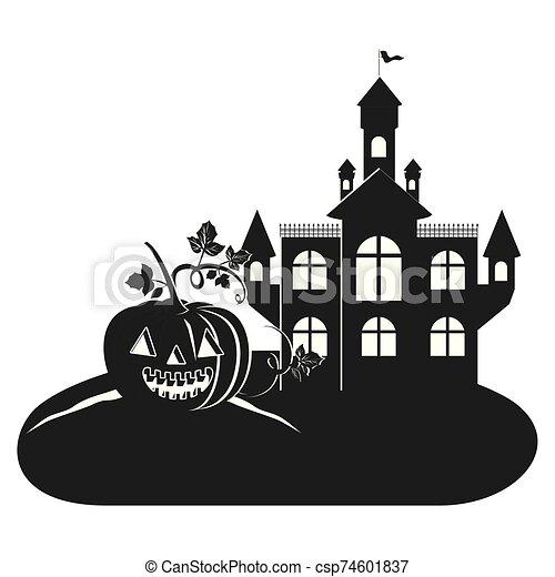 halloween dark castle with pumpkin scene icon - csp74601837
