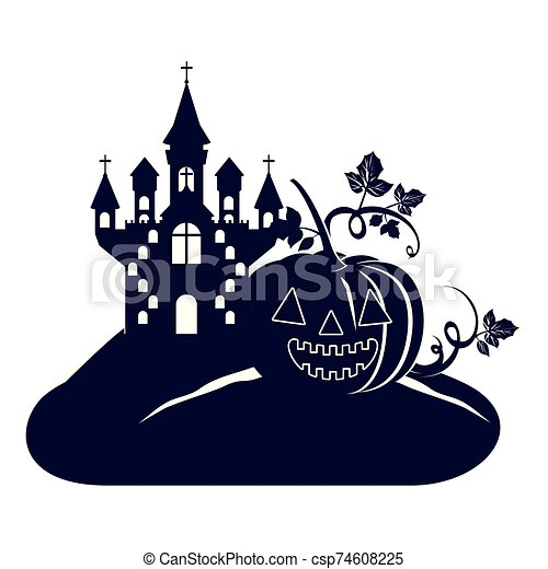 halloween dark castle with pumpkin scene icon - csp74608225