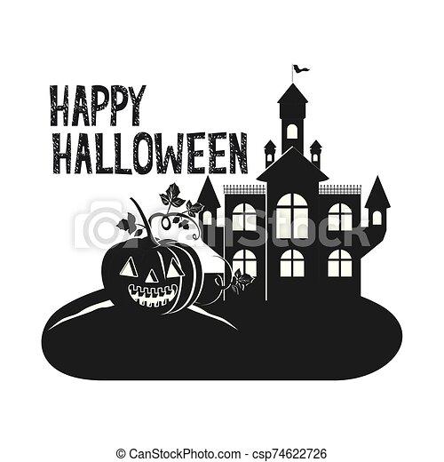 halloween dark castle with pumpkin scene icon - csp74622726