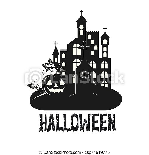 halloween dark castle with pumpkin scene icon - csp74619775
