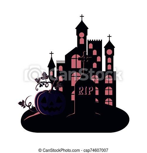 halloween dark castle with pumpkin scene icon - csp74607007