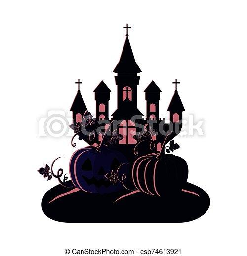 halloween dark castle with pumpkins scene icon - csp74613921