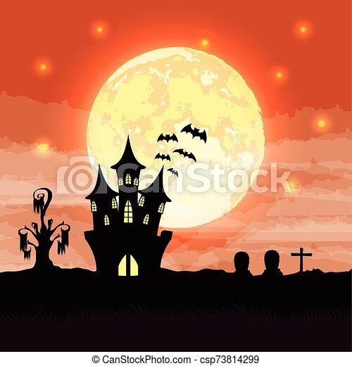halloween dark night scene with castle - csp73814299