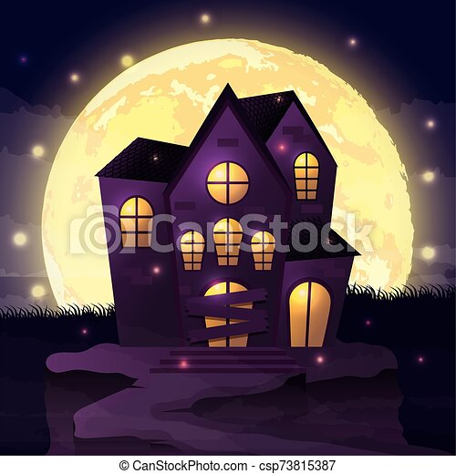 halloween dark night scene with castle - csp73815387