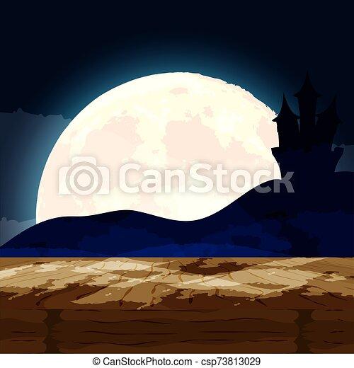 halloween dark night scene with castle - csp73813029