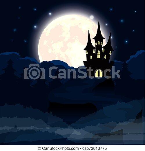 halloween dark night scene with castle - csp73813775