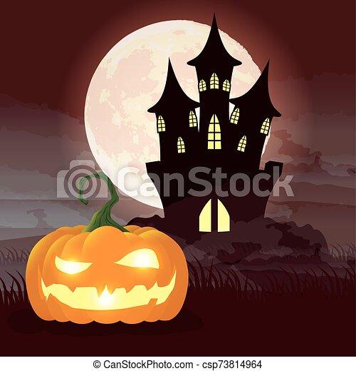 halloween dark night scene with pumpkin and castle - csp73814964
