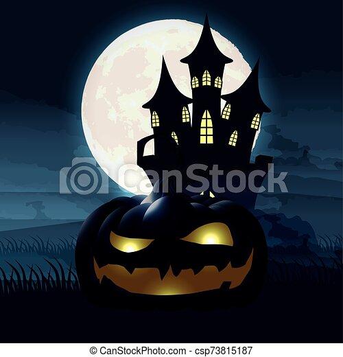halloween dark night scene with pumpkin and castle - csp73815187