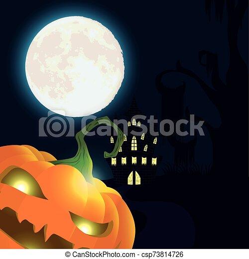 halloween dark night scene with pumpkin and castle - csp73814726