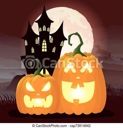 halloween dark night scene with pumpkins and castle - csp73814942