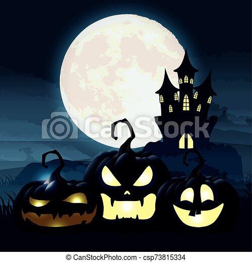 halloween dark night scene with pumpkins and castle - csp73815334