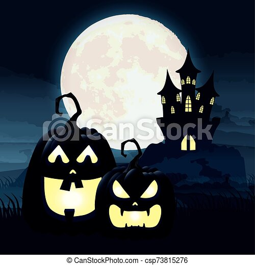 halloween dark night scene with pumpkins and castle - csp73815276