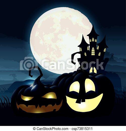 halloween dark night scene with pumpkins and castle - csp73815311