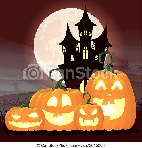 halloween dark night scene with pumpkins and castle - csp73815200