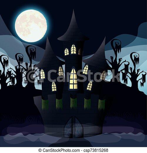 halloween dark night with castle scene - csp73815268