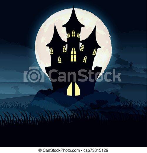 halloween dark night with castle scene - csp73815129