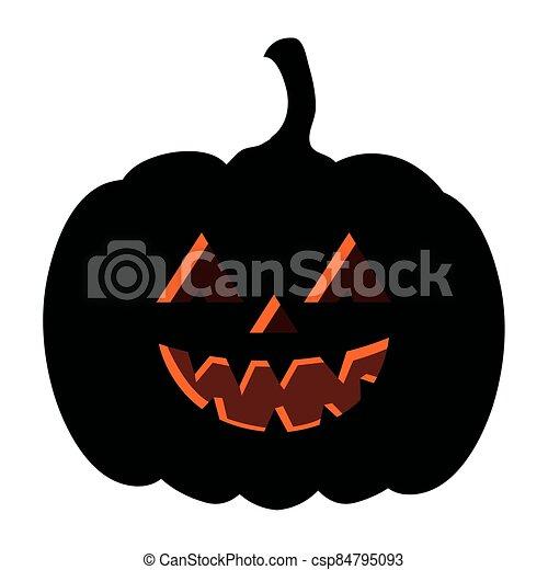 halloween dark pumpkin icon on white background - csp84795093