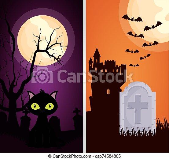 halloween dark scene castle with cat - csp74584805