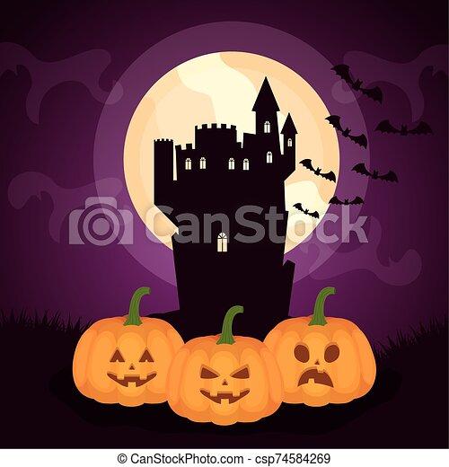 halloween dark scene castle with pumpkins - csp74584269