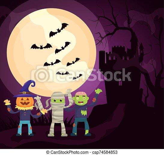 halloween dark scene castle with characters - csp74584853