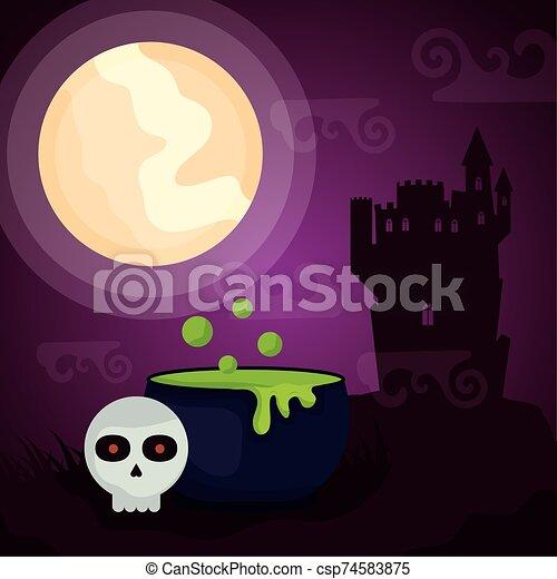 halloween dark scene castle with cauldron - csp74583875