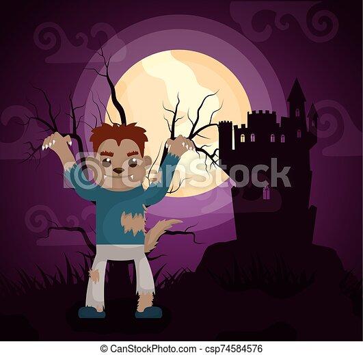 halloween dark scene castle with werewolf - csp74584576