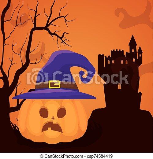 halloween dark scene castle with pumpkins - csp74584419