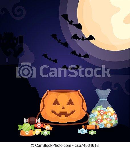 halloween dark scene castle with pumpkins - csp74584613