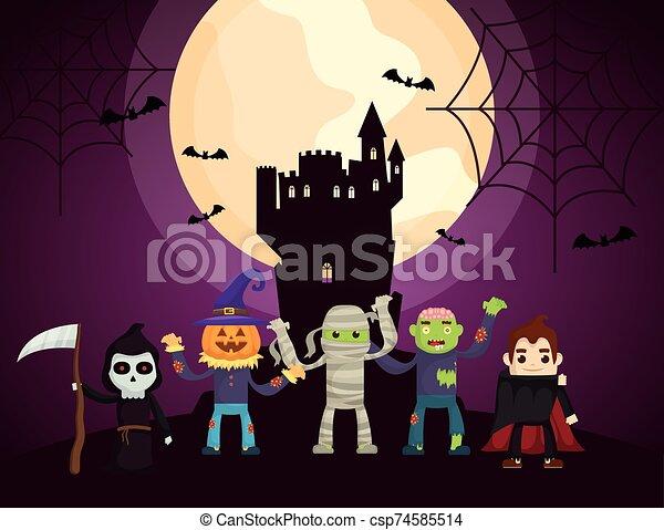 halloween dark scene castle with characters - csp74585514