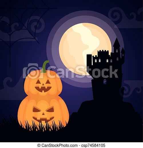 halloween dark scene castle with pumpkins - csp74584105