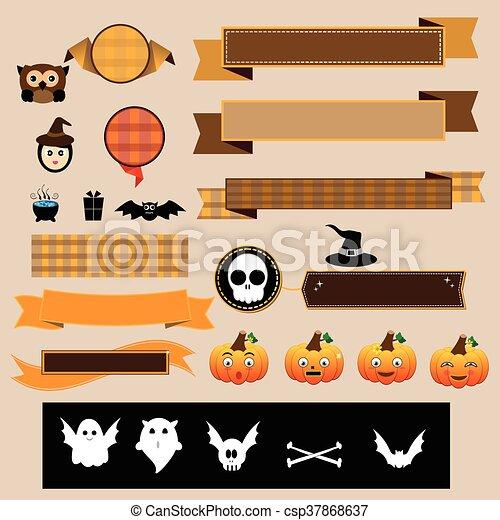 Halloween decoration vector ribbons.