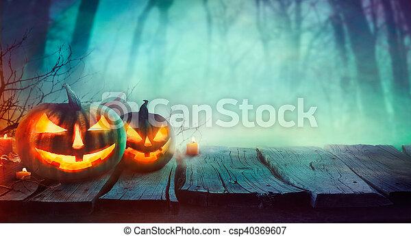 Halloween design with pumpkins - csp40369607