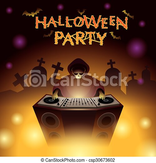 Halloween Dj Party Skull Mixing Dance And Electronic