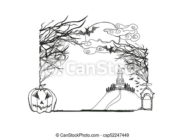 Halloween doodle frame eps vector - Search Clip Art, Illustration ...