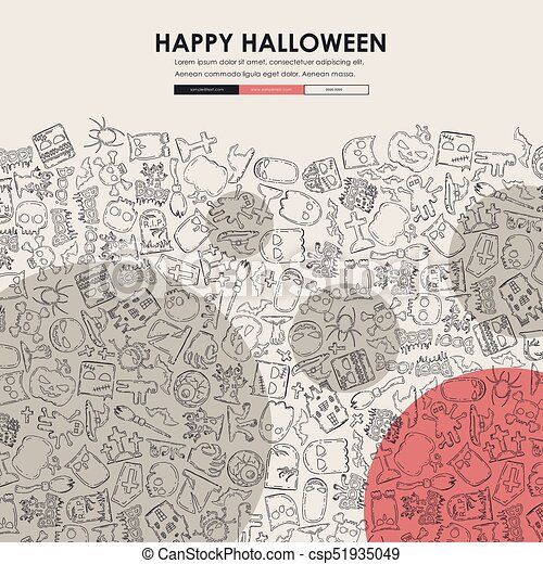halloween doodle website template design halloween website template
