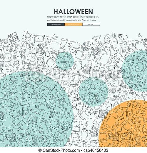 Halloween Doodle Website Template Design Halloween Website Template