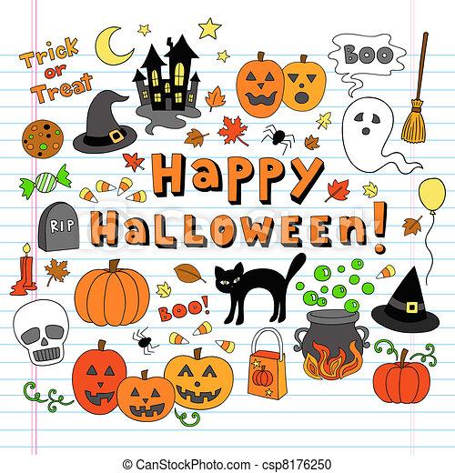 Halloween Doodles Vector Icon Set - csp8176250