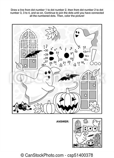 Halloween Dot To Dot And Coloring Page Halloween Themed Connect The