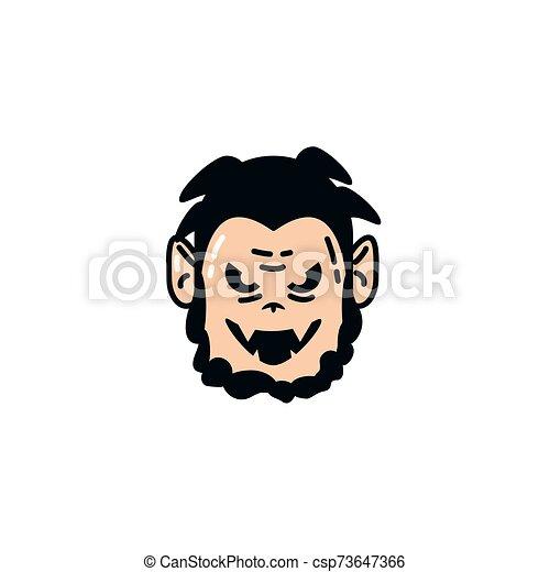 halloween dracula face flat character - csp73647366