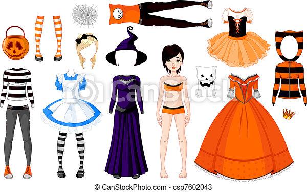 halloween, dziewczyna, kostiumy - csp7602043