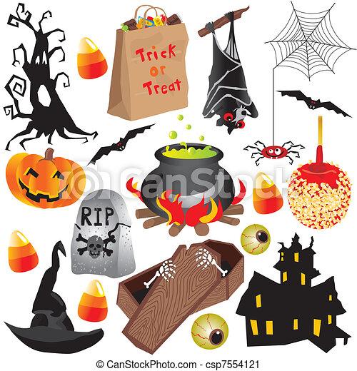 halloween, elementi, arte, clip, festa - csp7554121