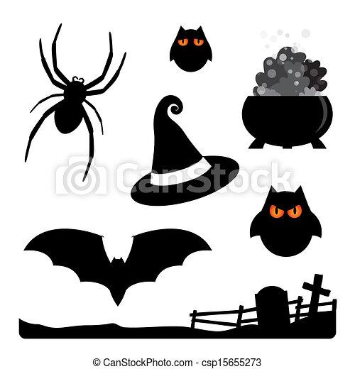 Halloween Elements Spider Owls Witch Hat Cauldron Bat Cemetery - Dibujos-araas-halloween