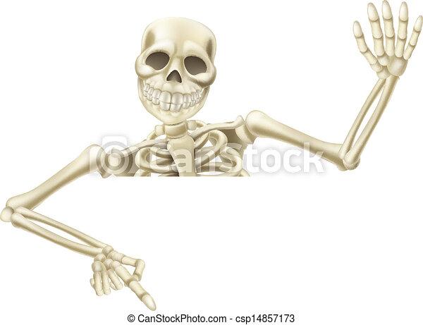 Esqueletos de Halloween señalando - csp14857173